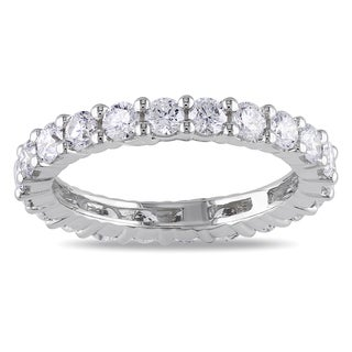 Miadora 14k White Gold 2ct TDW Round Diamond Full Eternity Ring (G-H, I1) with Bonus Earrings