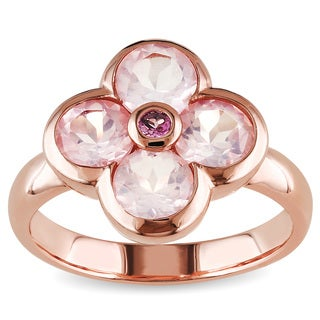 Miadora Rose Flashplated Silver Rose Quartz and Pink Tourmaline Flower Ring
