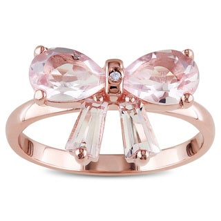 Miadora Rose Flashplated Silver Rose Quartz and Diamond Accent Bow Ring