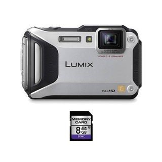 Panasonic Lumix DMC-TS5 Waterproof Silver Digital Camera 8GB Bundle