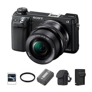 Sony Alpha NEX-6 Mirrorless Camera Body 16-50mm Zoom Lens 32GB Bundle
