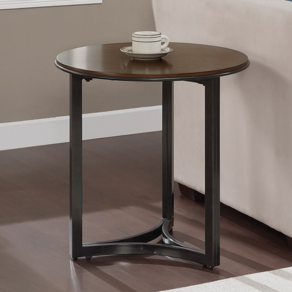 Round Wood And Metal End Table This Beautiful Round End Table Features
