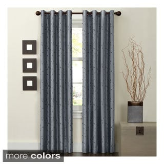 Polyester 84-inch Jardin Embroidery Thermal Lined Energy Curtain Panel