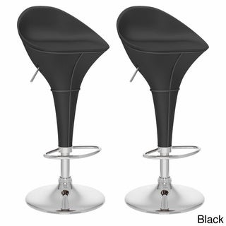 CorLiving Round Styled Adjustable-height Leatherette Bar Stools (Set of 2)