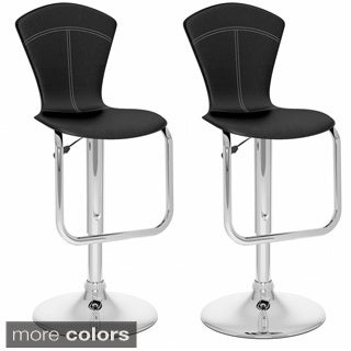 CorLiving Tapered Full-back Adjustable-height Leatherette Bar Stools (Set of 2)