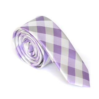 Skinny Tie Madness Men's Purple Plaid Skinny Tie