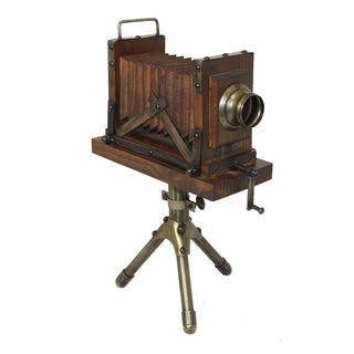 Vintage Wooden Extension Camera with Tripod