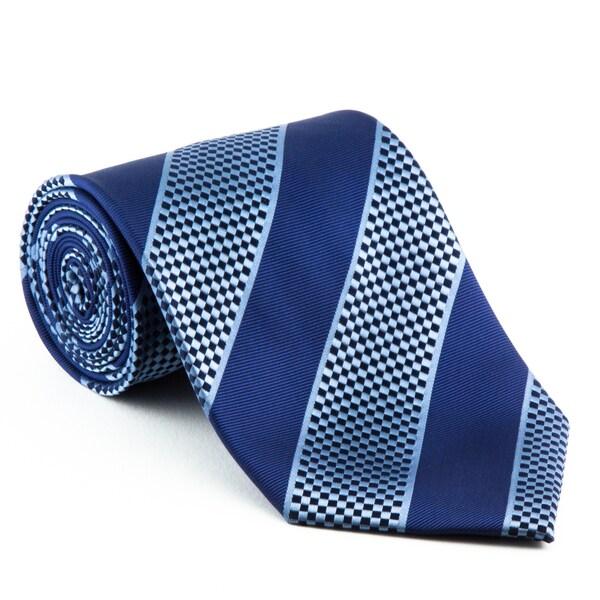 'Navy Ice' Diagonal Striped Neck Tie