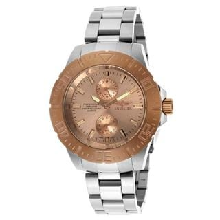 Invicta Men's 'Pro Diver' Stainless Steel Rose Gold-Tone Dial Watch