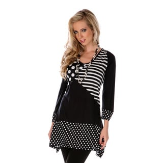 Women's Black and White Mixed Print Spliced Top