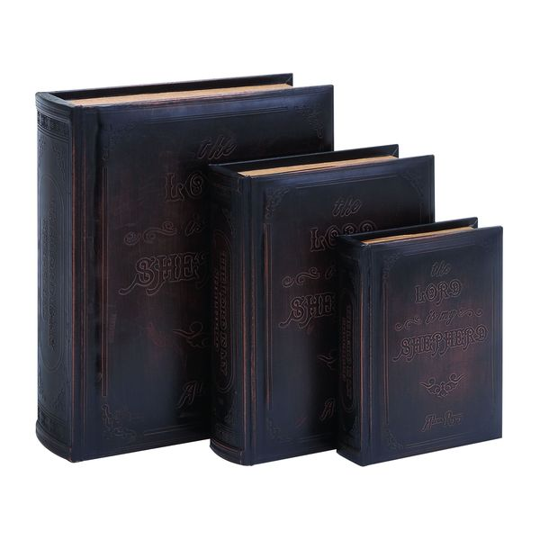 'The Lord Is My Shepherd' Leather Book Boxes (Set of 3)