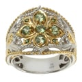 Michael Valitutti Two-tone Gold over Silver Tashmarine and Green Diamond Ring
