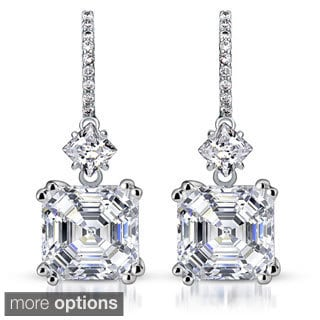 Collette Z Sterling Silver Cubic Zirconia Asscher Dangle Earrings