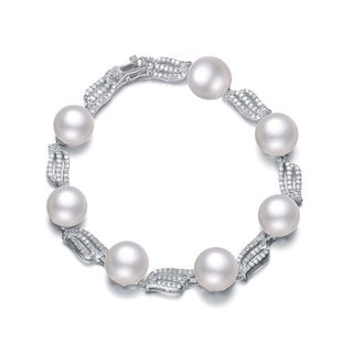Collette Z Sterling Silver Freshwater Pearl and Cubic Zirconia Bracelet