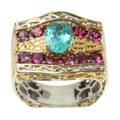 Michael Valitutti Two-tone Apatite and Pink Tourmaline Ring