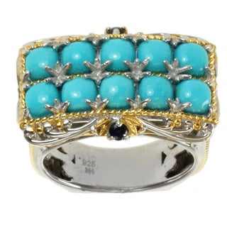 Michael Valitutti Two-tone Gold over Silver Sleeping Beauty Turquoise and Blue Sapphire Ring