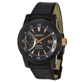 Seiko Men's 'Premier Kinetic Direct Drive' Black Ion and Rose Gold-Plated Stainless Steel Power Reserve Watch