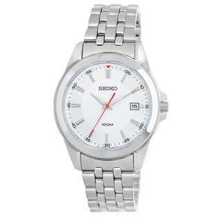 Seiko Men's 'Bracelet' Stainless Steel Silver and Red Japnese Quartz Watch