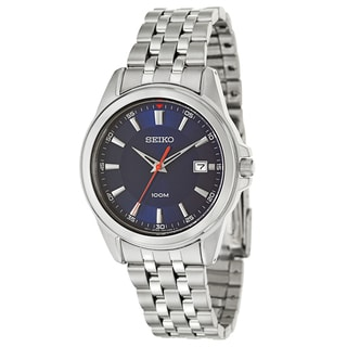 Seiko Men's 'Bracelet' Stainless Steel Navy Dial Japnese Quartz Watch