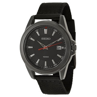 Seiko Men's 'Strap' Black Ion-Plated Stainless Steel Japnese Quartz Watch