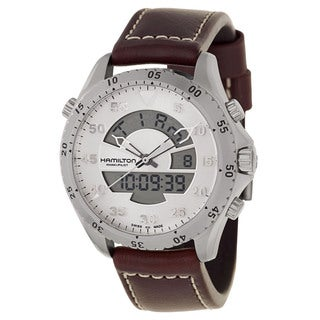 Hamilton Men's 'Khaki Aviation Flight Timer' Stainless Steel Quartz Watch