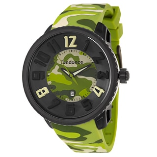Tendence Men's 'Gulliver Round Camo' Green Polycarbonate and Stainless Steel Quartz Watch