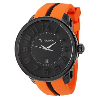 Tendence Men's 'Gulliver Round' Black/ Orange Polycarbonate and Stainless Steel Quartz Watch