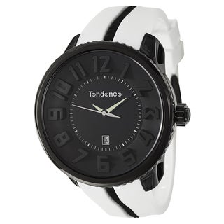 Tendence Men's 'Gulliver Round' Black/ White Polycarbonate and Stainless Steel Quartz Watch