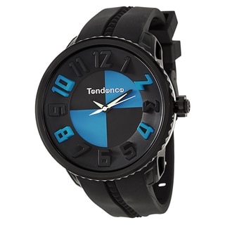 Tendence Men's 'Gulliver Hydrogen' Black/ Blue Polycarbonate and Stainless Steel Quartz Watch