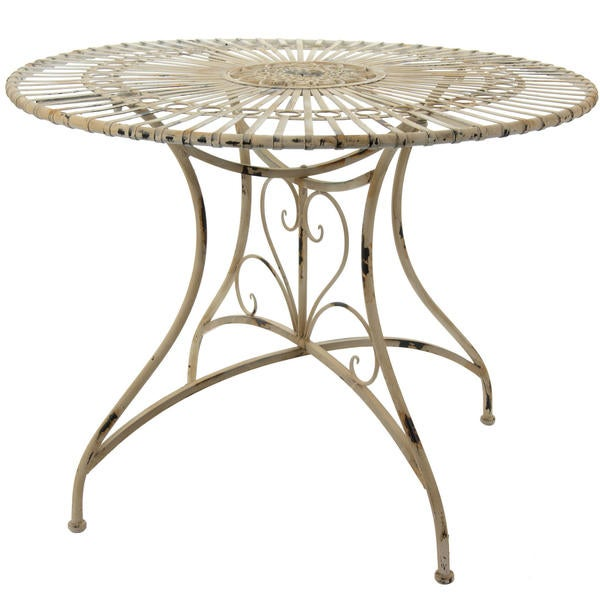 Distressed White Rustic Circular Garden Table (China)
