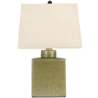 22-inch Moss Green Porcelain Jar Lamp (China)
