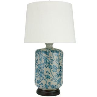 25-inch Blue and White Cherry Blossom Porcelain Lamp (China)