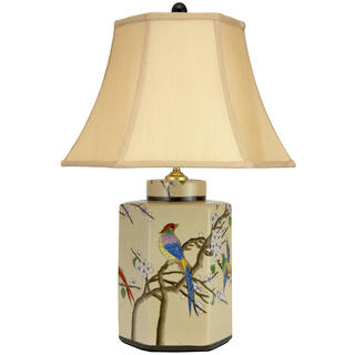 22-inch Birds and Flowers Porcelain Jar Lamp (China)