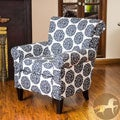 Christopher Knight Home Roseville Black & White Fabric Floral Club Chair