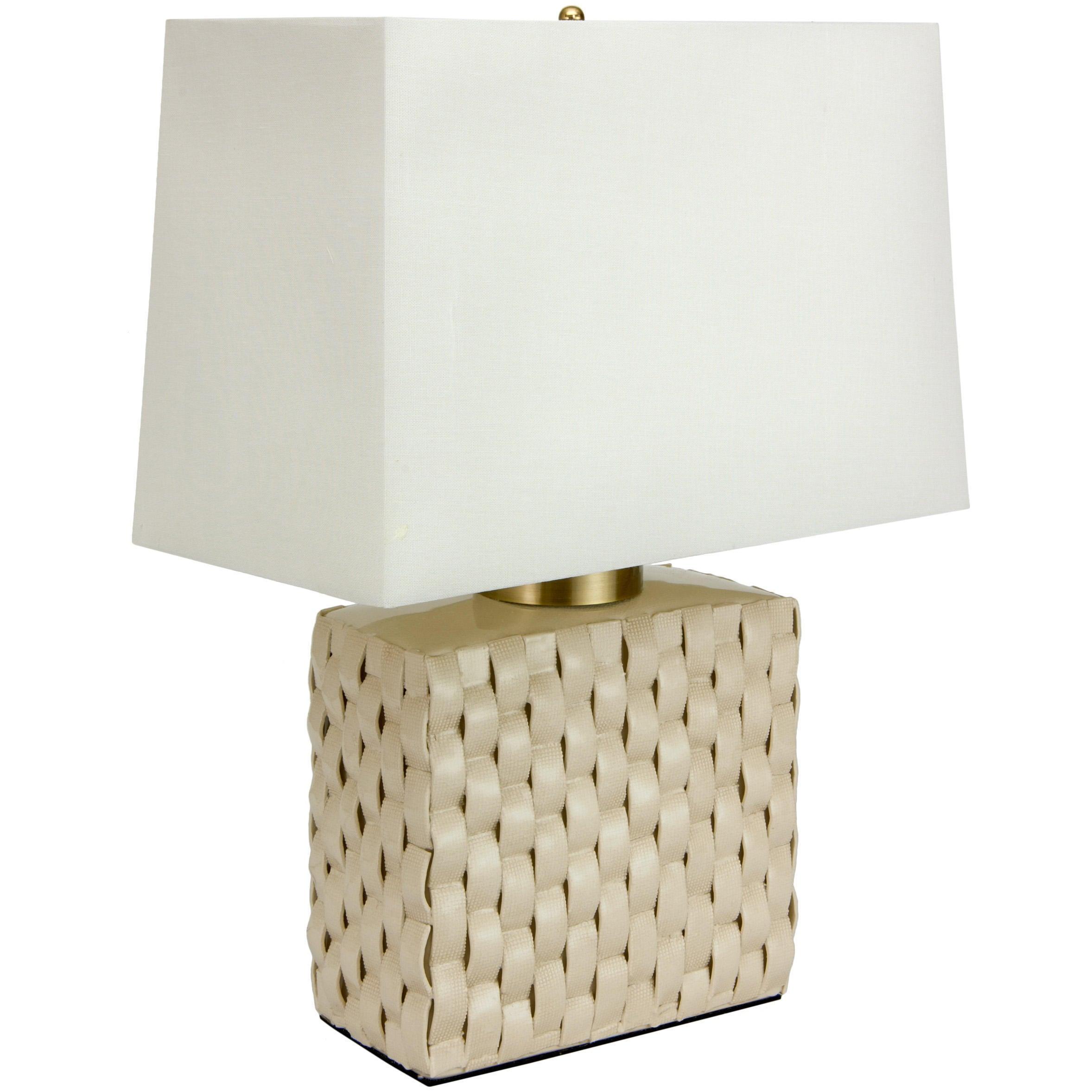 Overstock.com 23-inch Basket Weave Cream Porcelain Jar Lamp (China)
