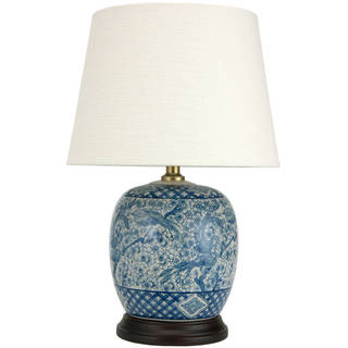 "Handmade 20"" Classic Blue and White Porcelain Jar Lamp - 13""W x 13""D x 20""H"
