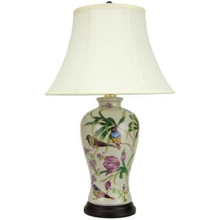 29-inch Floral White Porcelain Lamp (China)