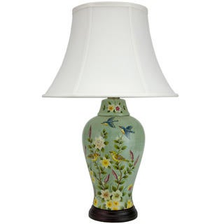Birds and Flowers 24-inch Porcelain Jar Lamp (China)