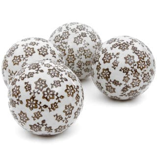 Gold Star Flowers 4-inch Porcelain Ball Set (China)