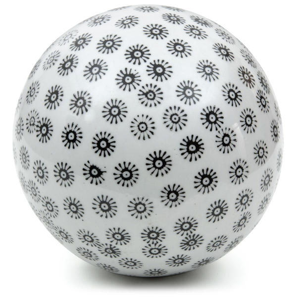 White with Black Stars 6-inch Decorative Porcelain Ball (China)