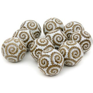 Golden Spirals 3-inch Porcelain Ball Set (China)