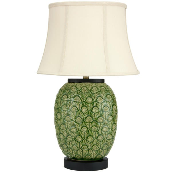 25-inch Green Feather Design Porcelain Jar Lamp (China)