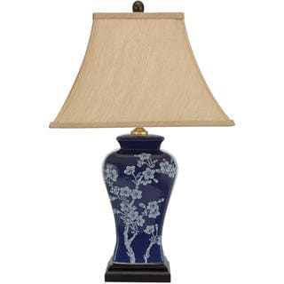 23-inch Cherry Blossoms Blue Porcelain Jar Lamp (China)