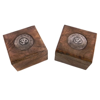 Set of 2 Handmade Mango Wood Om Keepsake Box (India)