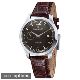 Earnshaw Men's 'Blake' Stainless Steel Leather Strap Watch