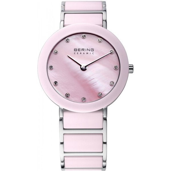 Bering Time Women's Pink and Silver Ceramic Watch