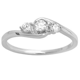 10k White Gold 1/4ct TDW Three-Stone Diamond Promise Ring (H-I, I1-I2)