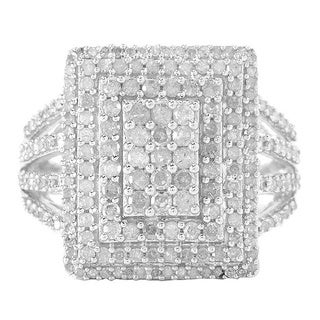 Sterling Silver 1ct TDW Multi-stone White Diamond Ring (I-J, I2-I3)