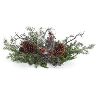 Mixed Evergreen Glass Hurricane Centerpiece