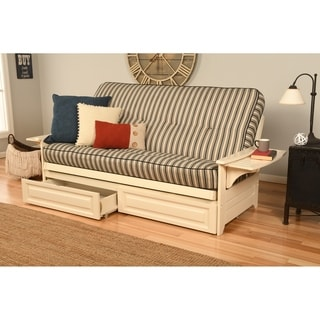 Ali Phonics Multi-Flex Futon Frame in Antique White Wood with Innerspring Mattress and Drawers